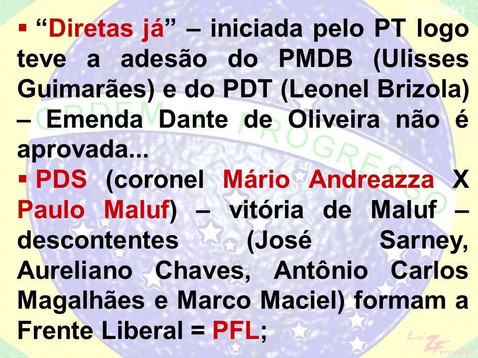 Diretas já – iniciada pelo PT logo teve a adesão do PMDB (Ulisses Guimarães) e do PDT (Leonel Brizola) – Emenda Dante de Oliveira não é aprovada...