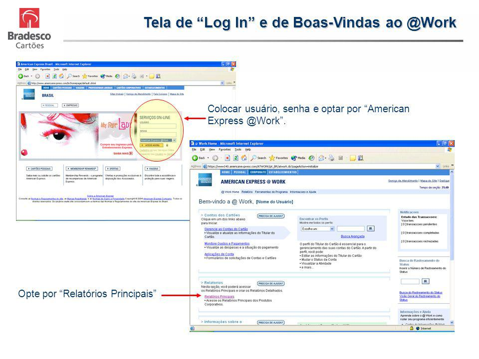 Tela de Log In e de Boas-Vindas ao @Work