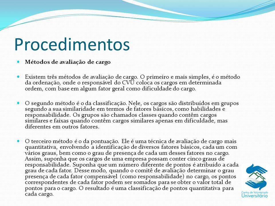 Procedimentos Métodos de avaliação de cargo