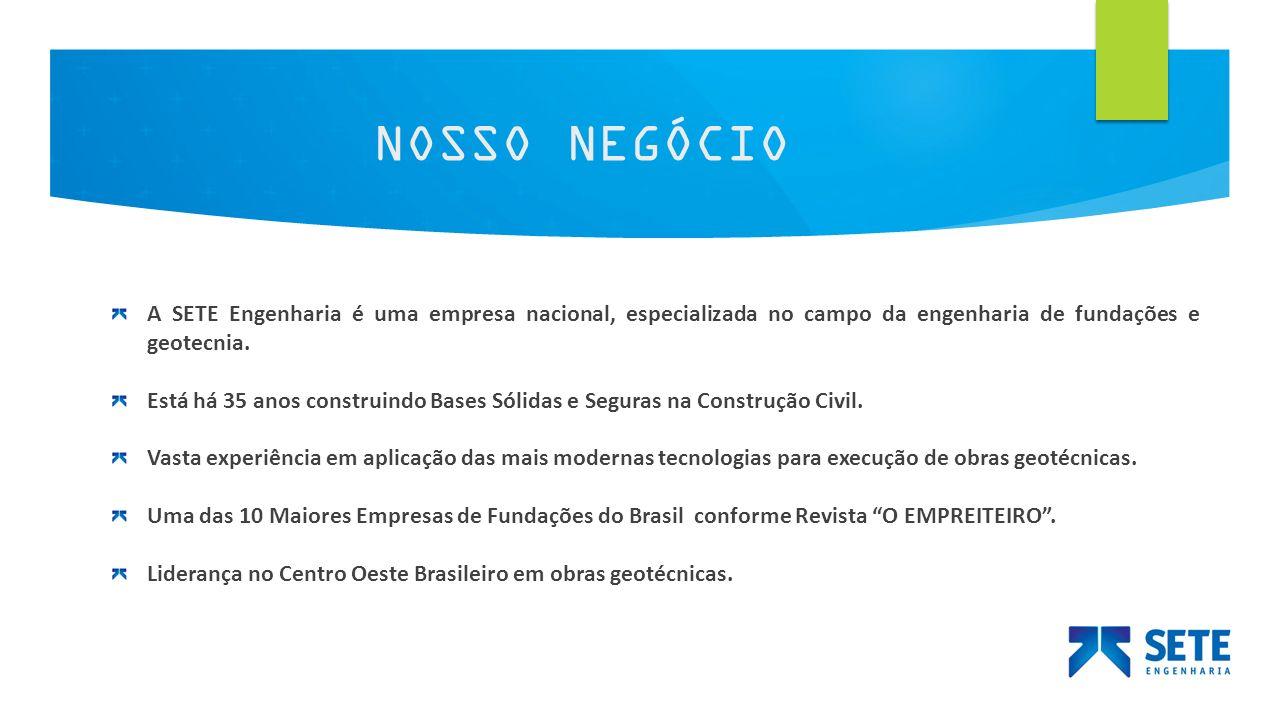 NOSSO NEGÓCIO A SETE Engenharia é uma empresa nacional, especializada no campo da engenharia de fundações e geotecnia.