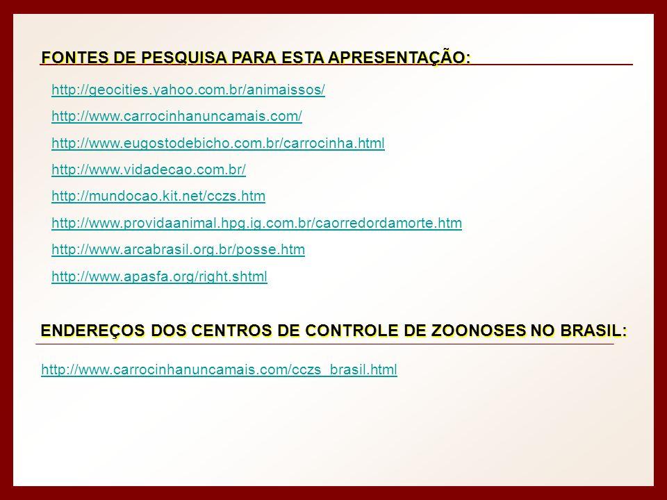 FONTES DE PESQUISA PARA ESTA APRESENTAÇÃO: