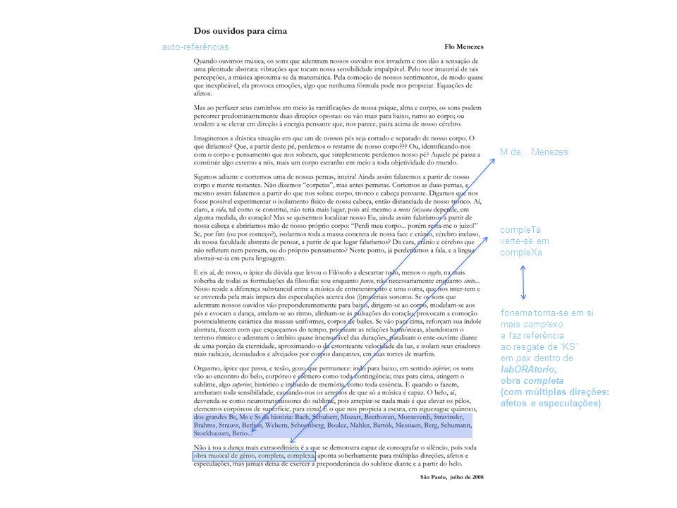 auto-referências M de... Menezes. compleTa. verte-se em. compleXa. fonema torna-se em si. mais complexo,