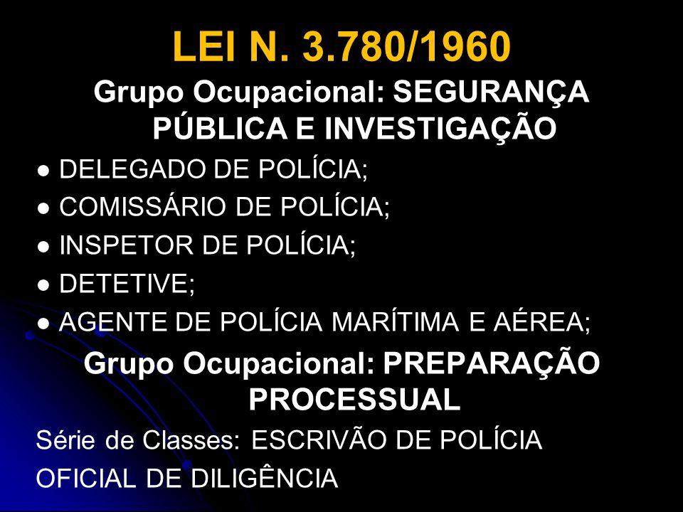 LEI N. 3.780/1960 Grupo Ocupacional: SEGURANÇA PÚBLICA E INVESTIGAÇÃO