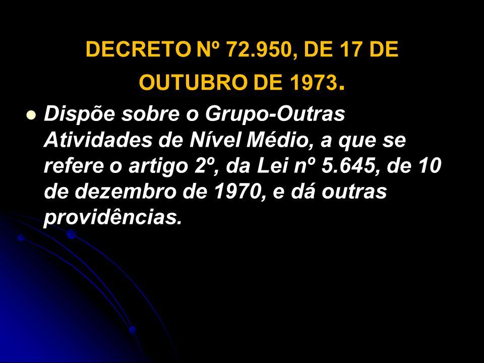 DECRETO Nº 72.950, DE 17 DE OUTUBRO DE 1973.
