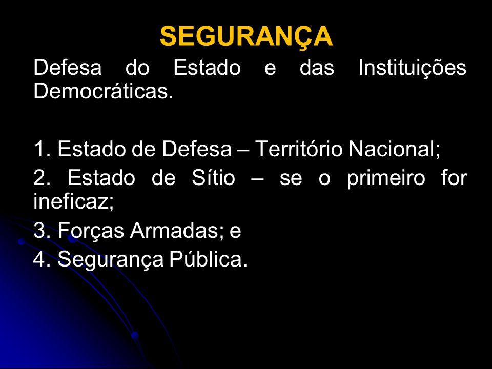 SEGURANÇA Defesa do Estado e das Instituições Democráticas.