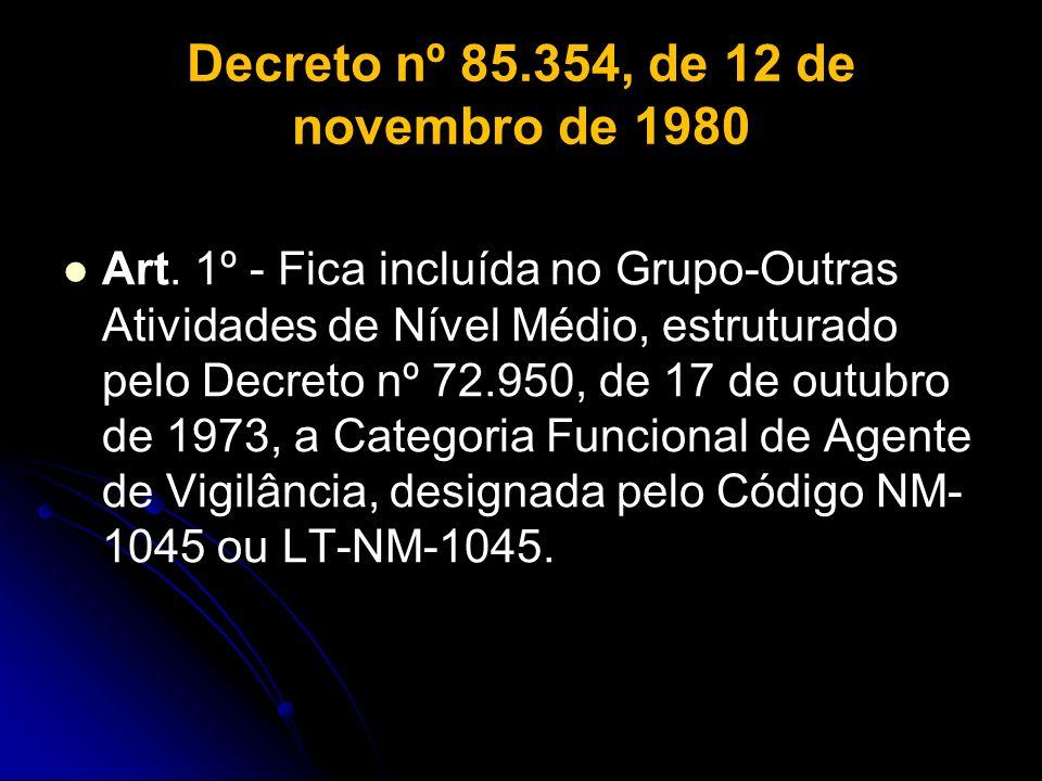 Decreto nº 85.354, de 12 de novembro de 1980