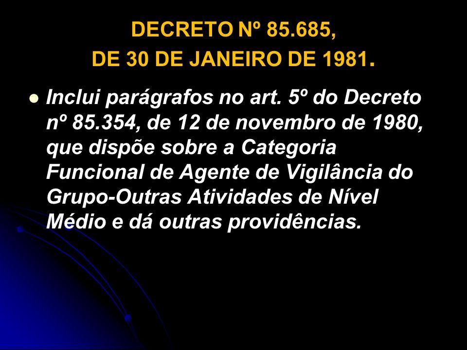DECRETO Nº 85.685, DE 30 DE JANEIRO DE 1981.
