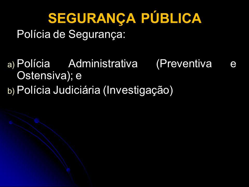 SEGURANÇA PÚBLICA Polícia de Segurança:
