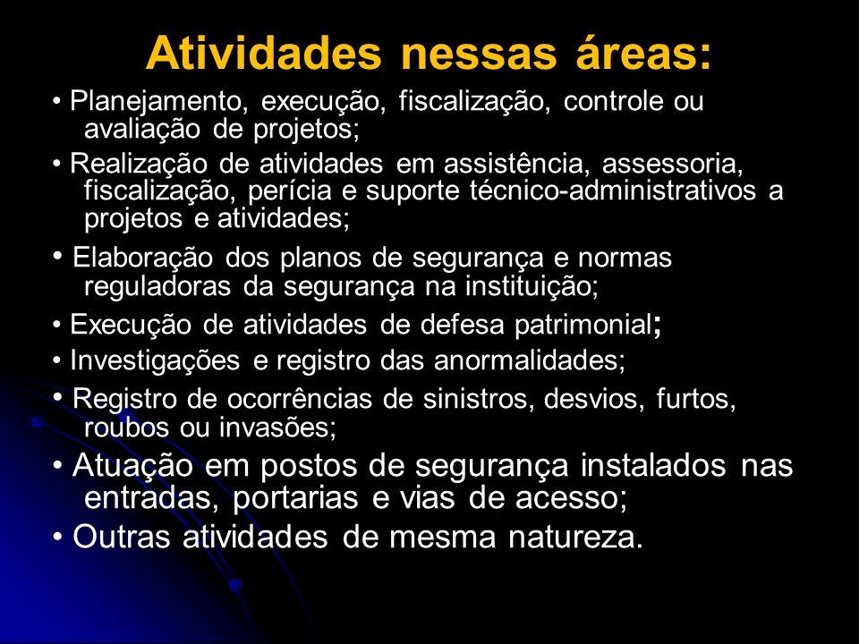 Atividades nessas áreas: