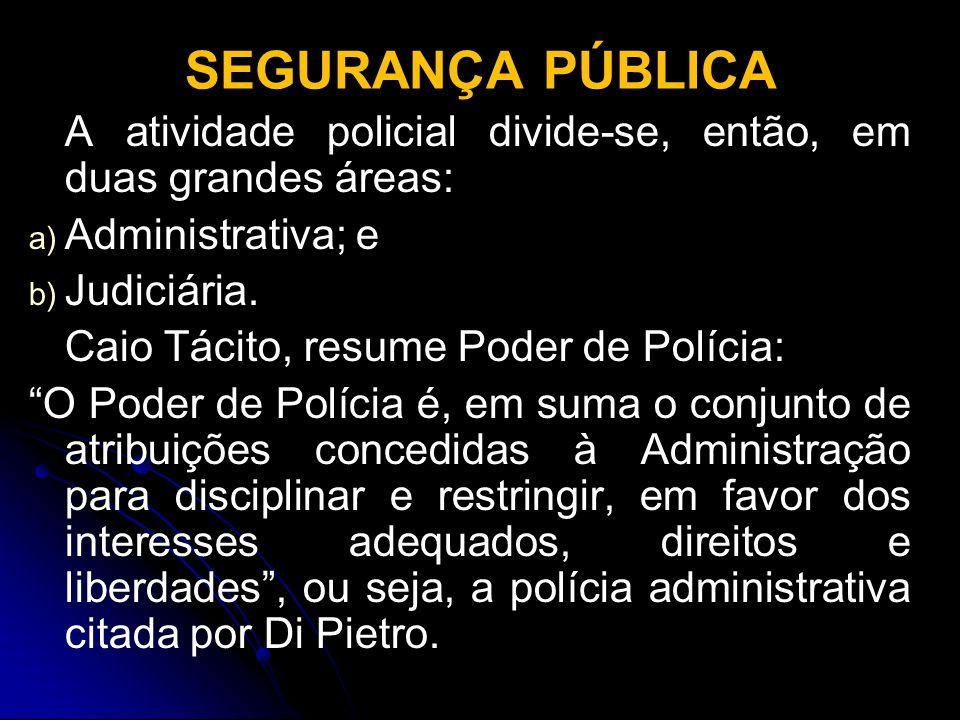 SEGURANÇA PÚBLICA A atividade policial divide-se, então, em duas grandes áreas: Administrativa; e.
