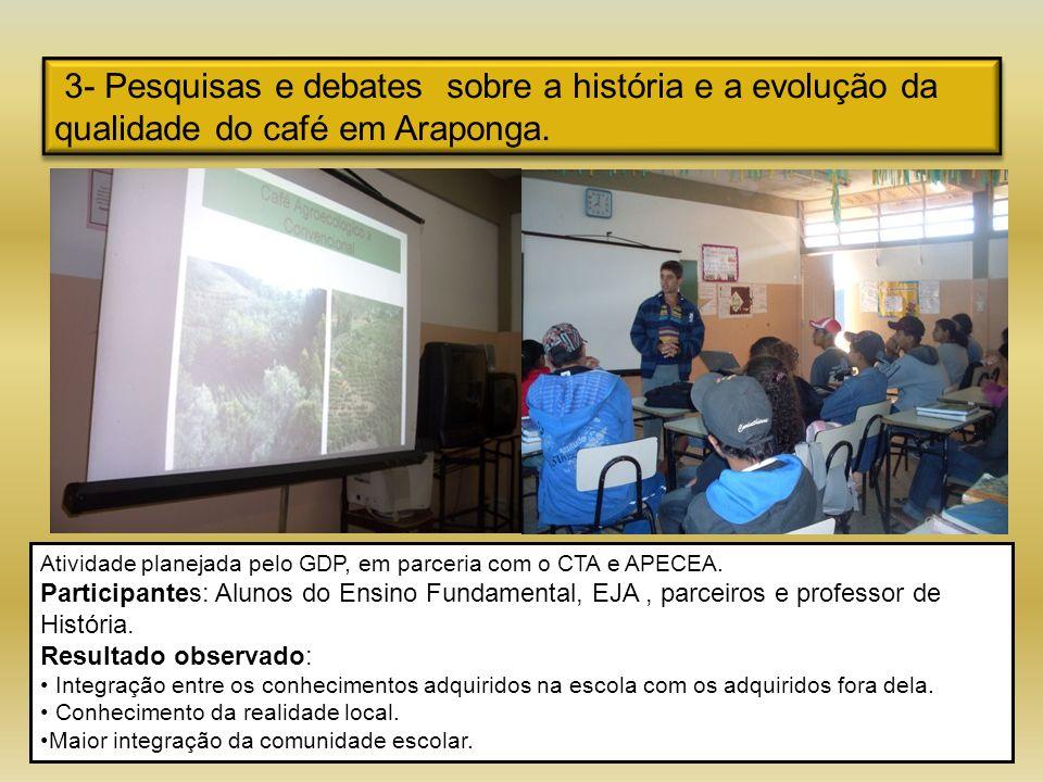 3- Pesquisas e debates sobre a história e a evolução da qualidade do café em Araponga.