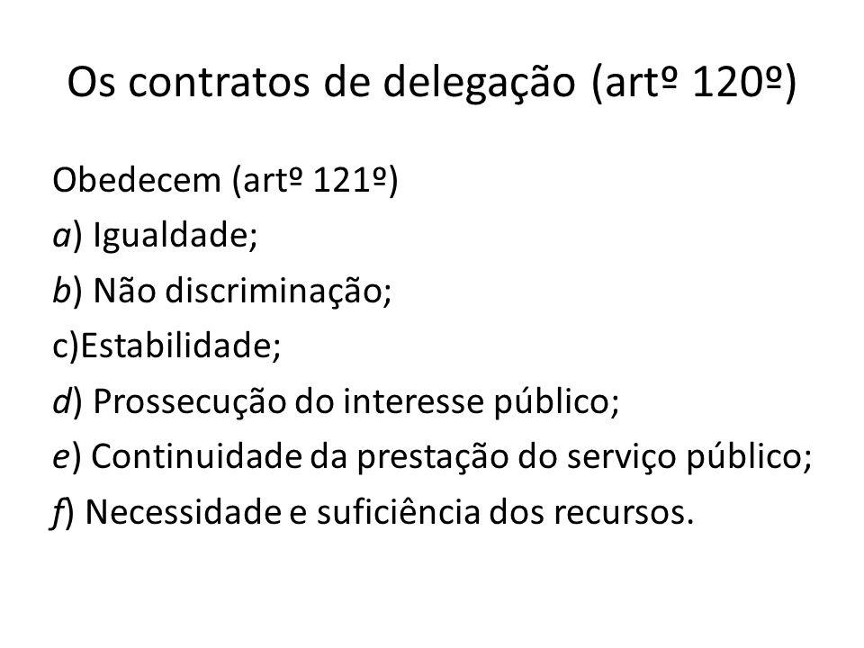 Os contratos de delegação (artº 120º)