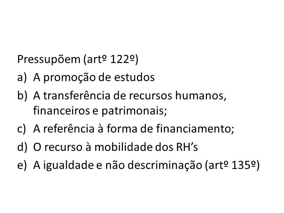 Pressupõem (artº 122º)A promoção de estudos. A transferência de recursos humanos, financeiros e patrimonais;