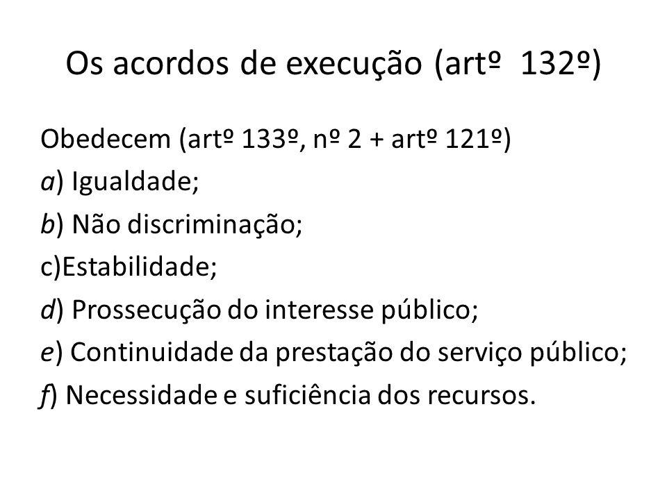Os acordos de execução (artº 132º)