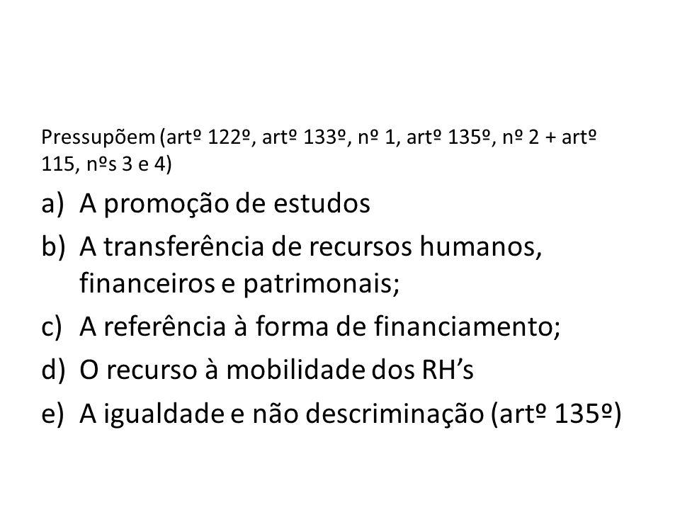 A transferência de recursos humanos, financeiros e patrimonais;