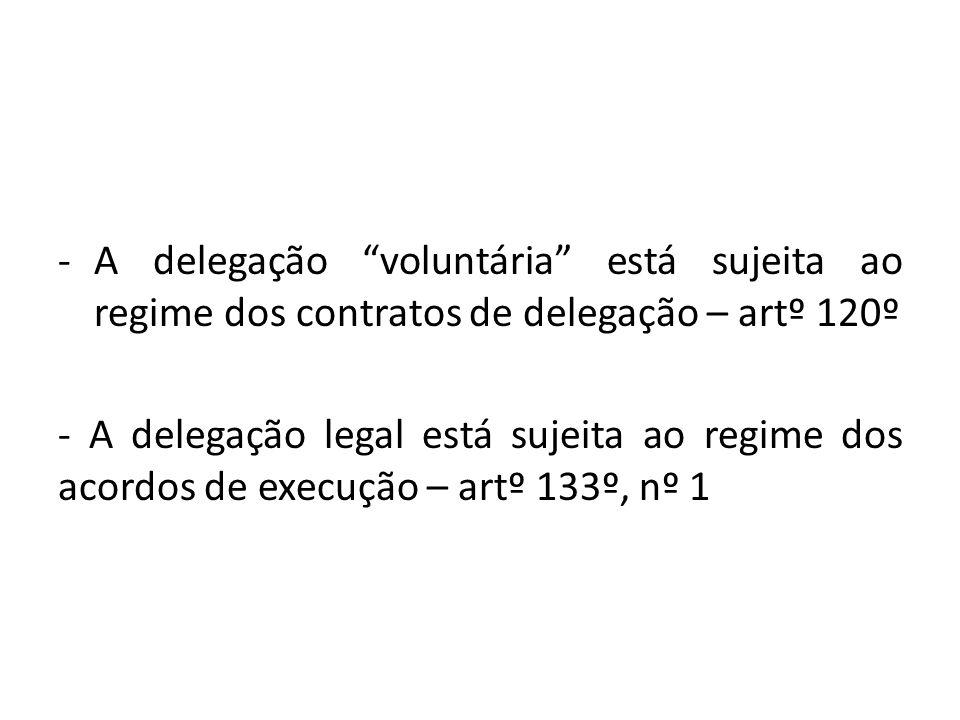 A delegação voluntária está sujeita ao regime dos contratos de delegação – artº 120º