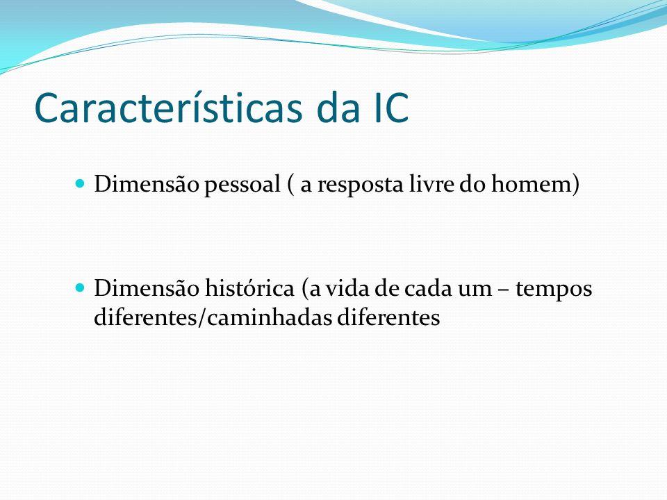 Características da IC Dimensão pessoal ( a resposta livre do homem)