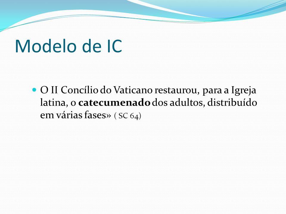 Modelo de IC O II Concílio do Vaticano restaurou, para a Igreja latina, o catecumenado dos adultos, distribuído em várias fases» ( SC 64)