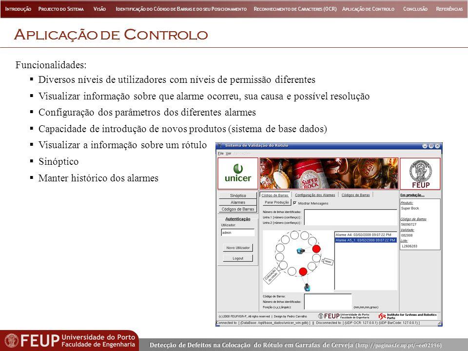 Aplicação de Controlo Funcionalidades: