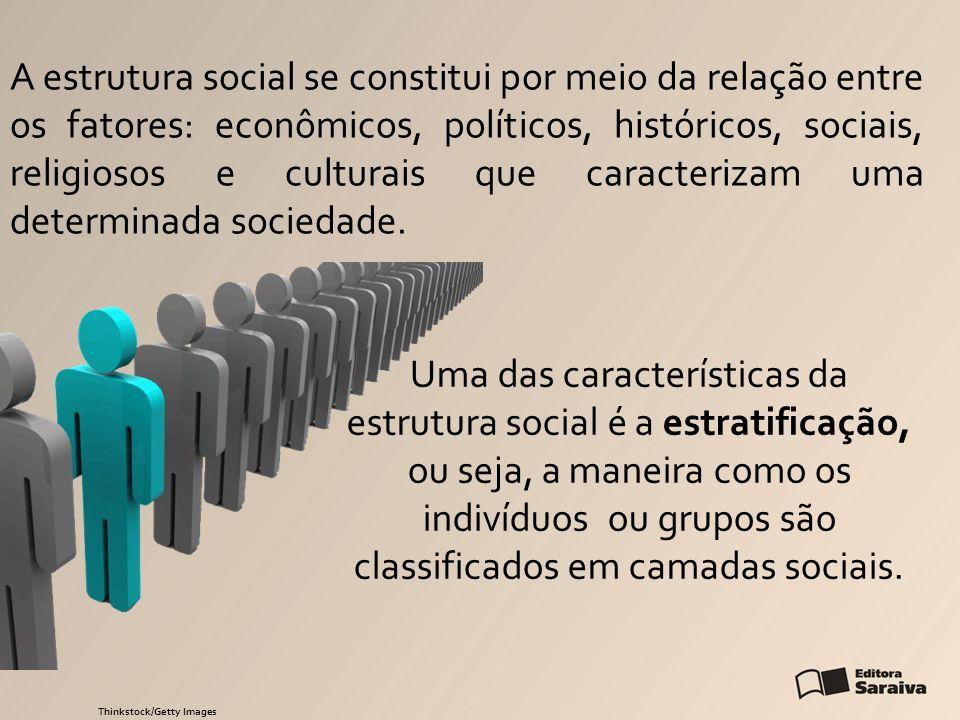 A estrutura social se constitui por meio da relação entre os fatores: econômicos, políticos, históricos, sociais, religiosos e culturais que caracterizam uma determinada sociedade.