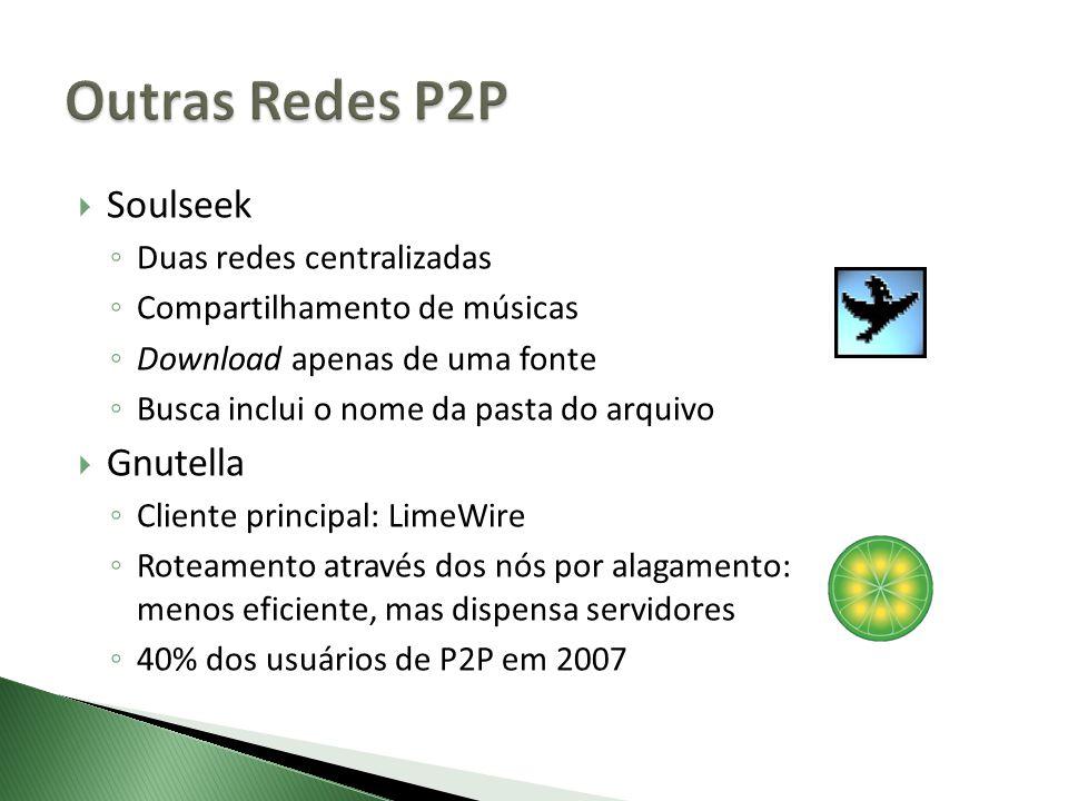Outras Redes P2P Soulseek Gnutella Duas redes centralizadas
