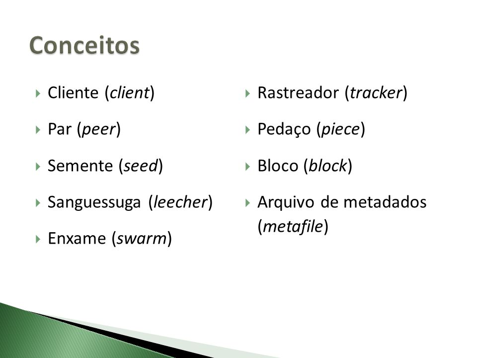 Conceitos Cliente (client) Rastreador (tracker) Par (peer)
