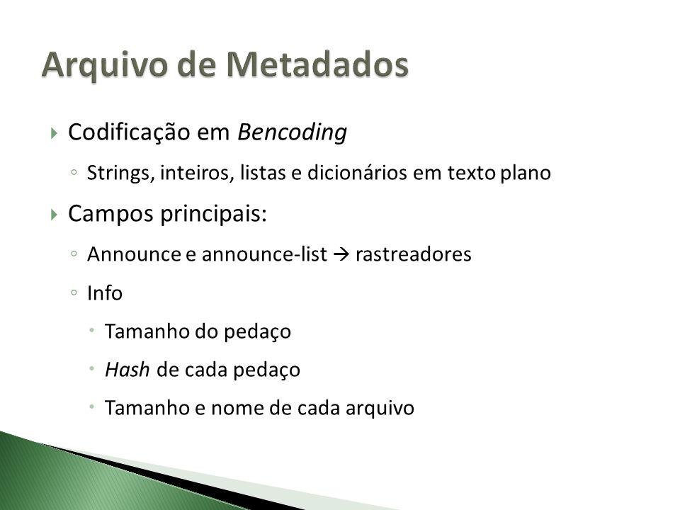 Arquivo de Metadados Codificação em Bencoding Campos principais: