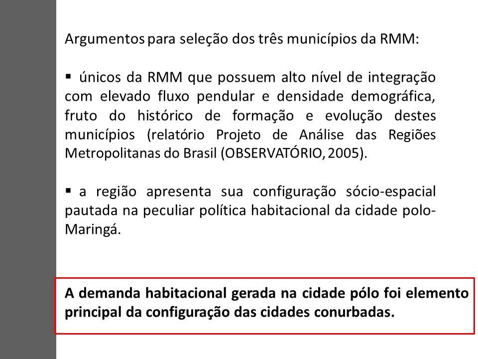 Argumentos para seleção dos três municípios da RMM: