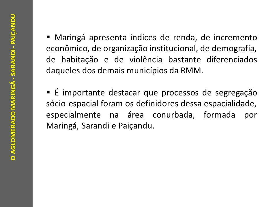 Maringá apresenta índices de renda, de incremento econômico, de organização institucional, de demografia, de habitação e de violência bastante diferenciados daqueles dos demais municípios da RMM.