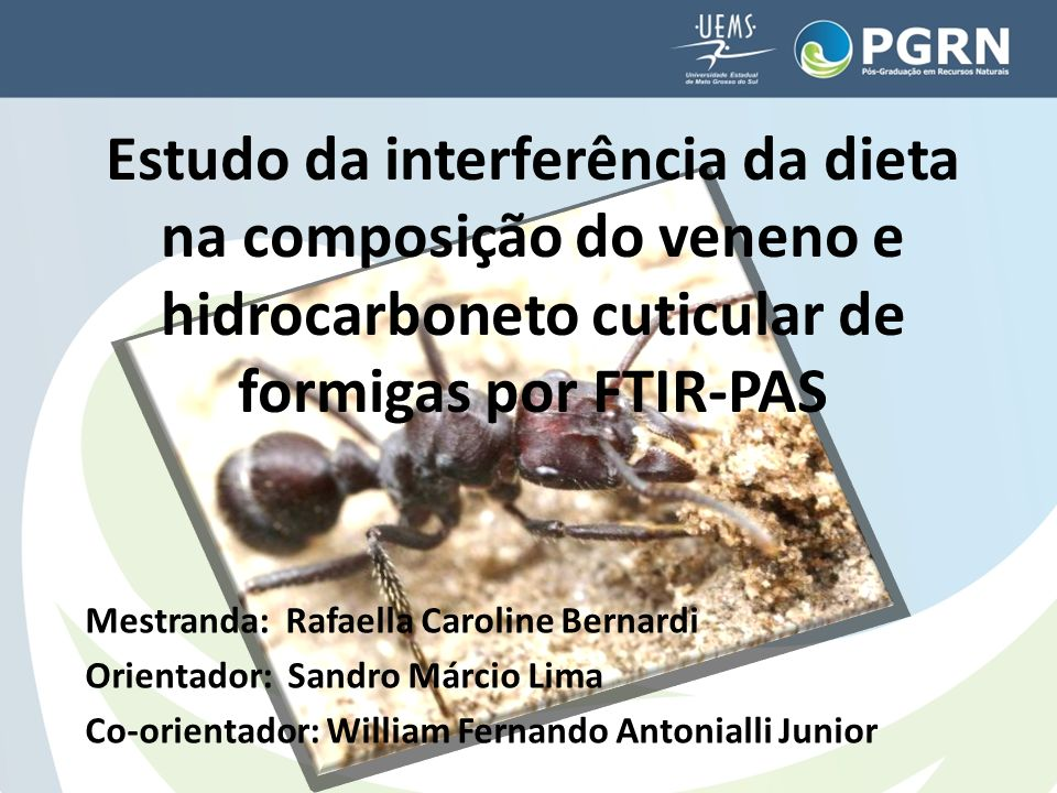 Estudo da interferência da dieta na composição do veneno e hidrocarboneto cuticular de formigas por FTIR-PAS