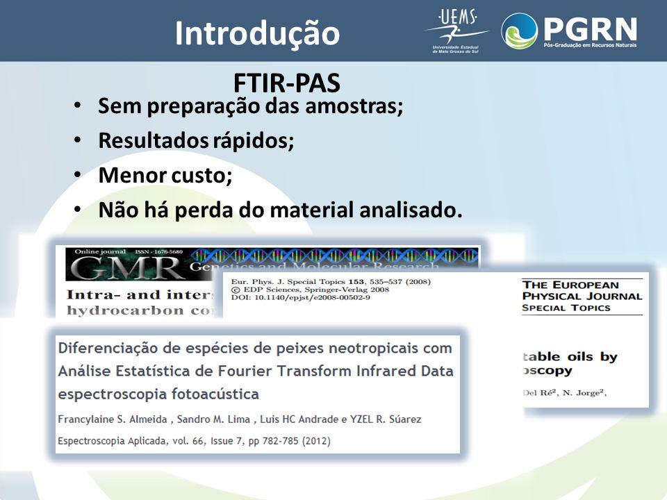 Introdução FTIR-PAS Sem preparação das amostras; Resultados rápidos;