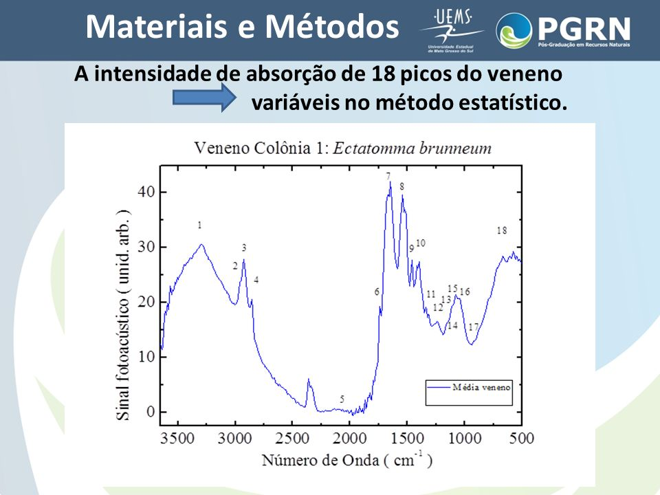 Materiais e Métodos A intensidade de absorção de 18 picos do veneno