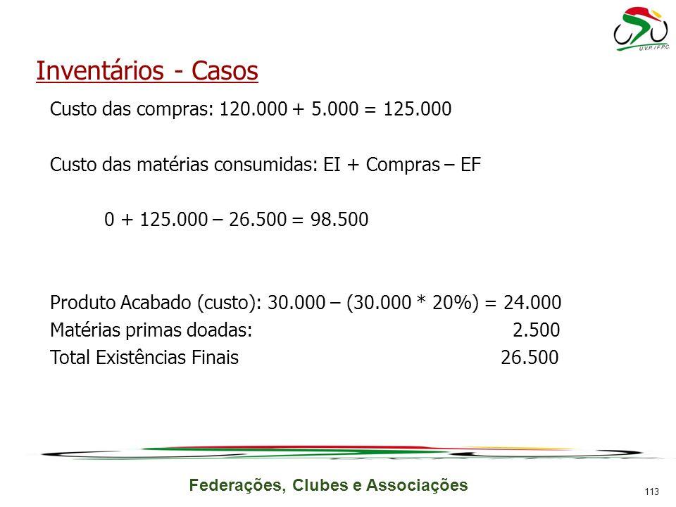 Inventários - Casos Custo das compras: 120.000 + 5.000 = 125.000