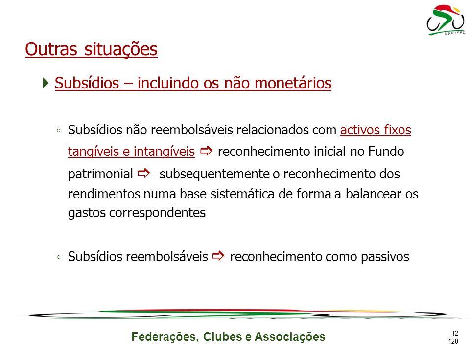 Outras situações Subsídios – incluindo os não monetários
