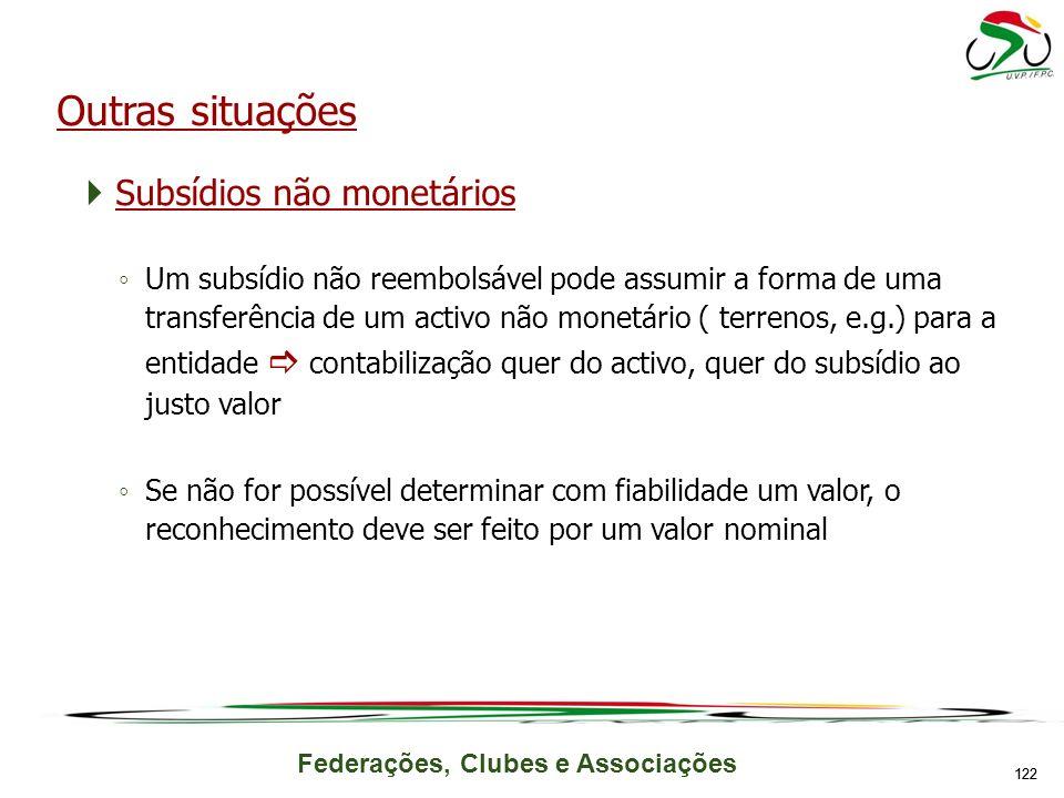 Outras situações Subsídios não monetários