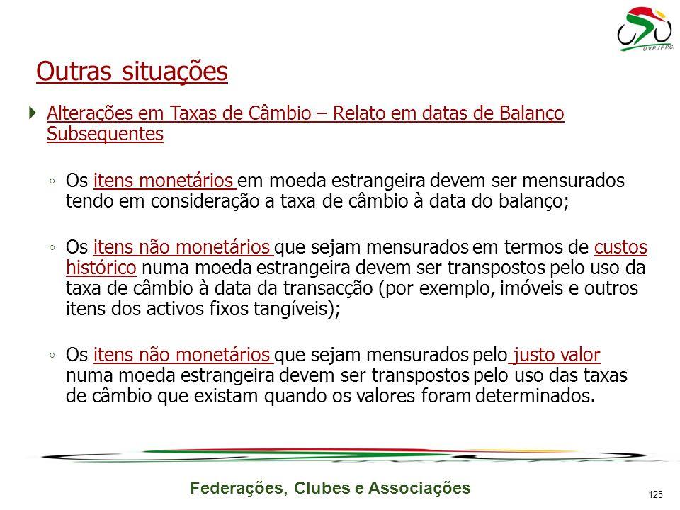 Outras situações Alterações em Taxas de Câmbio – Relato em datas de Balanço Subsequentes.