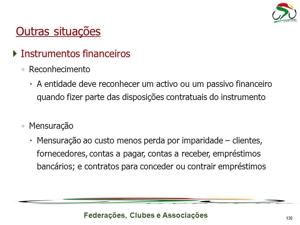 Outras situações Instrumentos financeiros Reconhecimento