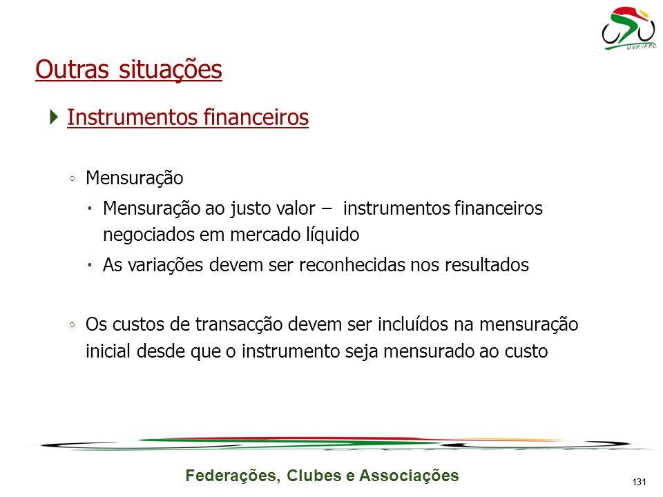 Outras situações Instrumentos financeiros Mensuração