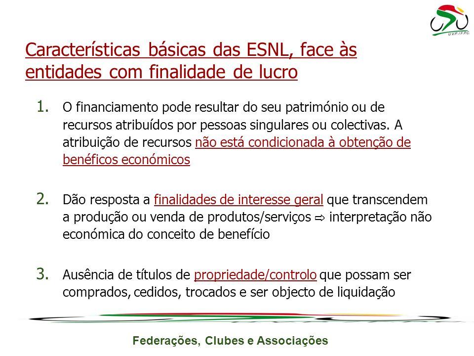Características básicas das ESNL, face às entidades com finalidade de lucro