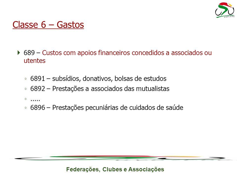 Classe 6 – Gastos 689 – Custos com apoios financeiros concedidos a associados ou utentes. 6891 – subsídios, donativos, bolsas de estudos.