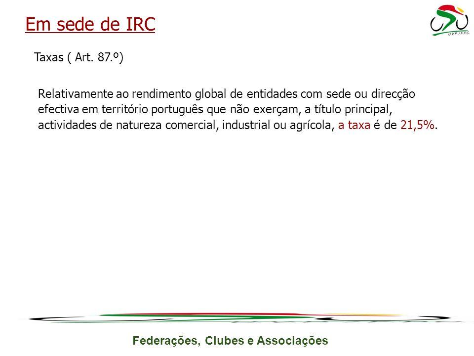 Em sede de IRC
