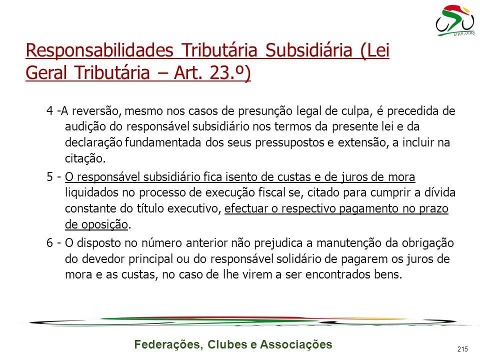 Responsabilidades Tributária Subsidiária (Lei Geral Tributária – Art