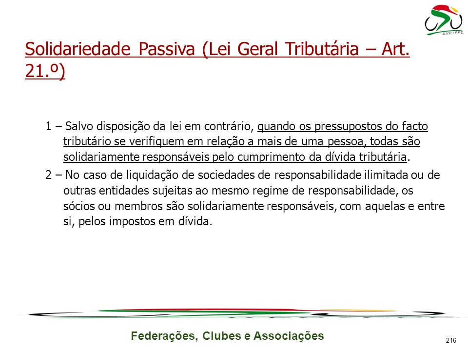 Solidariedade Passiva (Lei Geral Tributária – Art. 21.º)