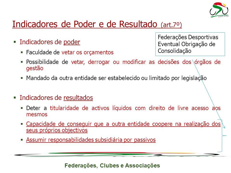 Indicadores de Poder e de Resultado (art.7º)