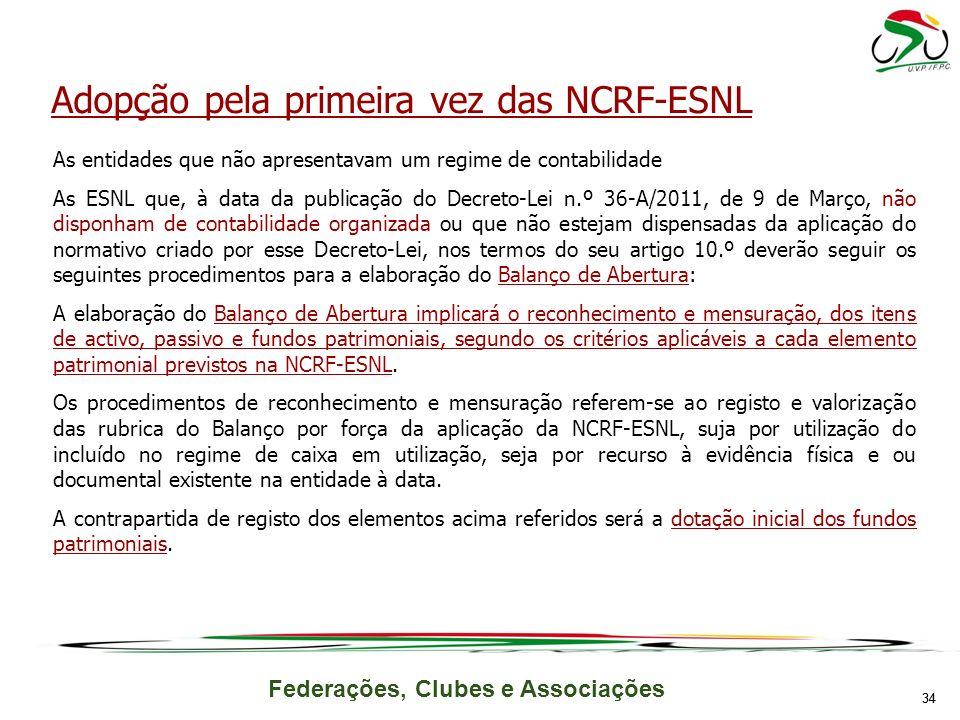 Adopção pela primeira vez das NCRF-ESNL