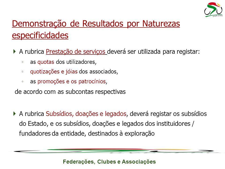 Demonstração de Resultados por Naturezas especificidades
