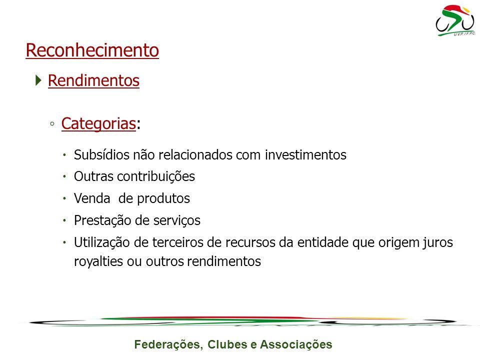 Reconhecimento Rendimentos Categorias: