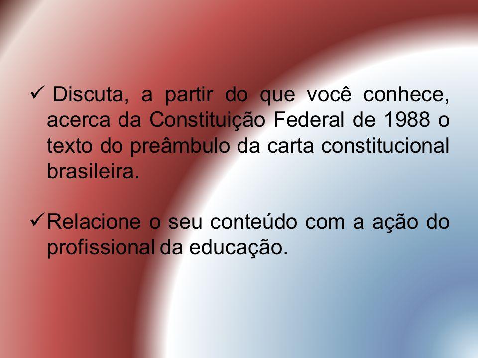 Discuta, a partir do que você conhece, acerca da Constituição Federal de 1988 o texto do preâmbulo da carta constitucional brasileira.