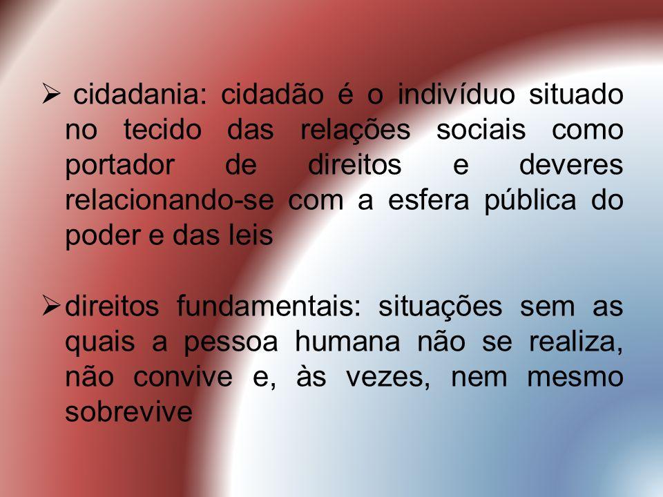 cidadania: cidadão é o indivíduo situado no tecido das relações sociais como portador de direitos e deveres relacionando-se com a esfera pública do poder e das leis