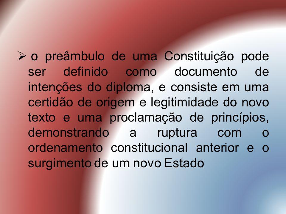 o preâmbulo de uma Constituição pode ser definido como documento de intenções do diploma, e consiste em uma certidão de origem e legitimidade do novo texto e uma proclamação de princípios, demonstrando a ruptura com o ordenamento constitucional anterior e o surgimento de um novo Estado